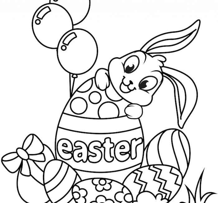 Osterhase zum Ausmalen, Hase in riesigem Ei mit Aufschrift Easter, kleine Ostereier und drei Ballons