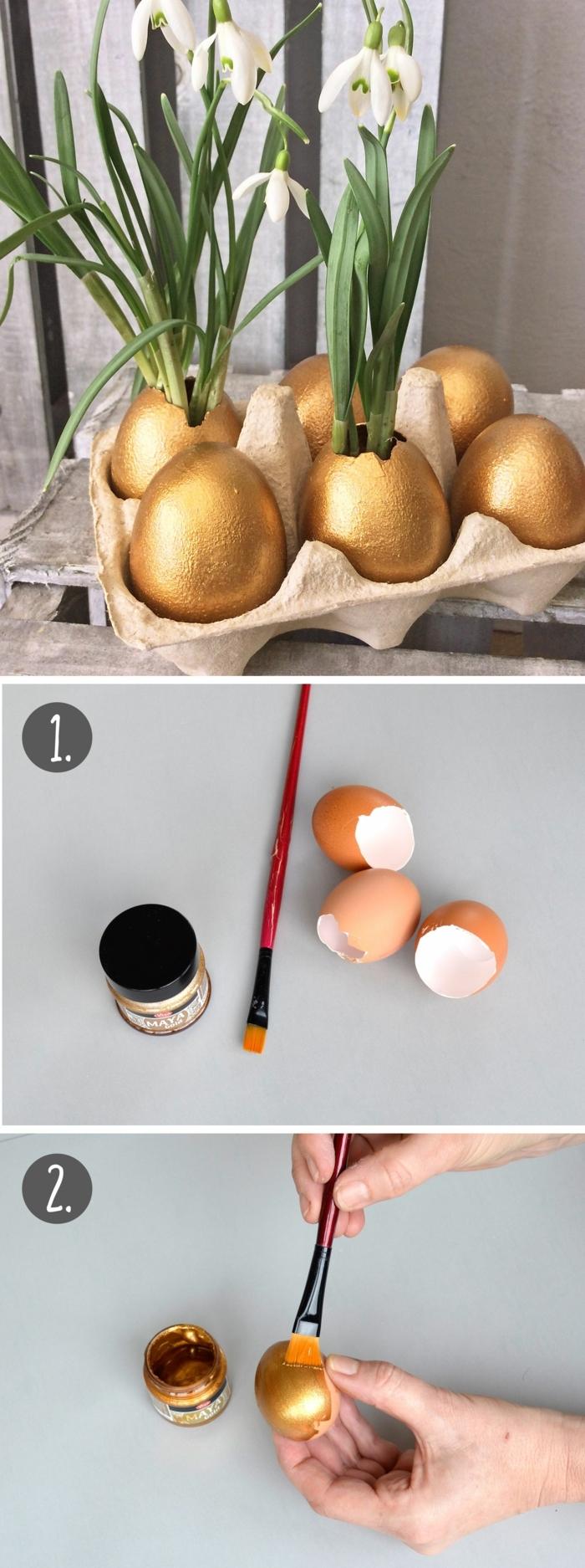 DIY Schritt für Schritt Anleitung, Eierschalen bemalen in goldener Farbe zu Blumentöpfe mit Schneeglöckchen, Osterdeko basteln aus Naturmaterialien
