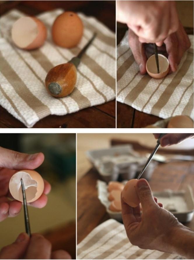 Vorbereitung von Eierschale, bohren eines Lochs im unteren Teil, ausschneiden vom übermäßigen Material, Gartendeko selbst gemacht