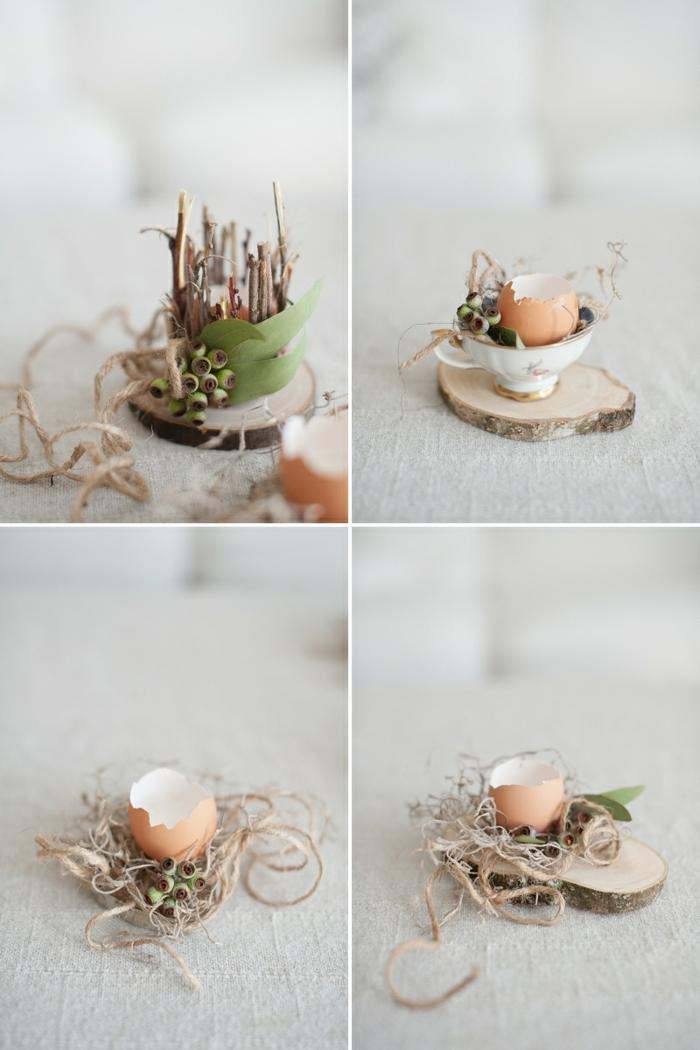 Dekoration für Ostern 2020 Ideen, Tischdeko Frühling aus Naturmaterialien, Dekoration aus Eierschale auf kleinem Holzbrett