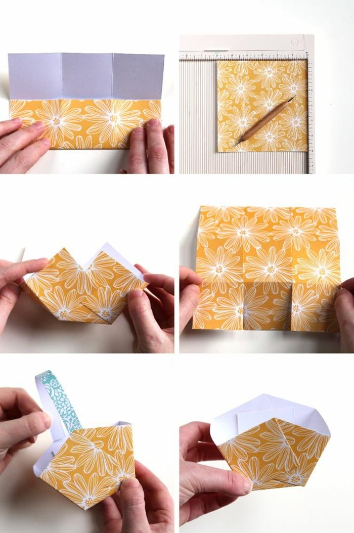 Osterkörbchen basteln mit Krippenkindern, DIY Anleitung Schritt für Schritt, Korb aus gelbem Karton basteln