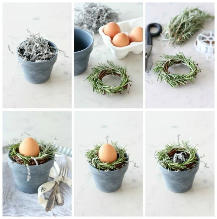 DIY Anleitung zum Anfertigen von kleinem Rosmarinkranz, Tischdeko Frühling mit Naturmaterialien, Dekoration für Ostern 2020