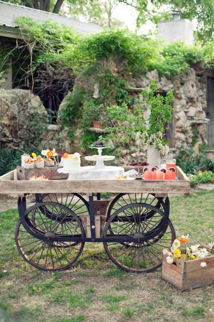 Upcycling Ideen Garten, Gartentisch aus altern Rädern, gedeckt für eine Party, Gartendeko aus Holz, Kiste gefüllt mit BLumen