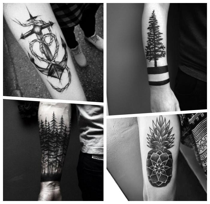 glaube liebe hoffnung tattoo am unterarm, balckwork tätowierungen, ananas mit mandala elementen