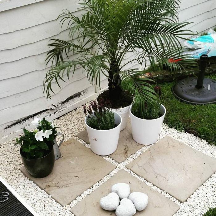 Deko Ideen mit Steinen im Garten, drei Blumentöpfe mit grünen Pflanzen, vier Steine in Herzform, Gartendeko selbstgemacht