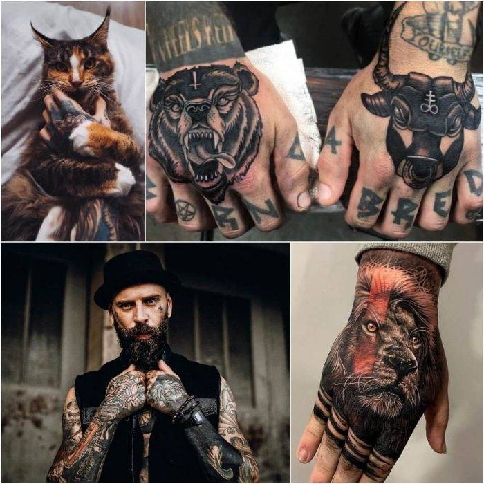 hand tattoo mann, bär und stier, realitischer löwenkopf in schwarz und rot, tätowierungen ideen