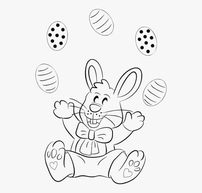Osterhase Ausmalbild, kleiner Hase jongliert mit Ostereiern, Osterbilder für Kinder