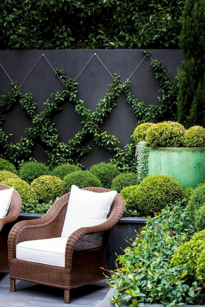 Sichtschutz aus grünen Pflanzen, Lianen auf schwarze Wand, Gartendeko selber machen, holzerner Stuhl mit weißen Kissen