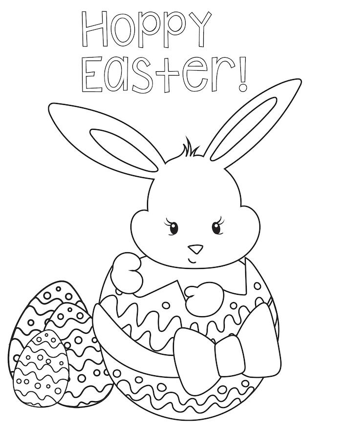 Osterhase Ausmalbild, Hase in Osterei mit großer Schleife, Aufschrift Happy Easter