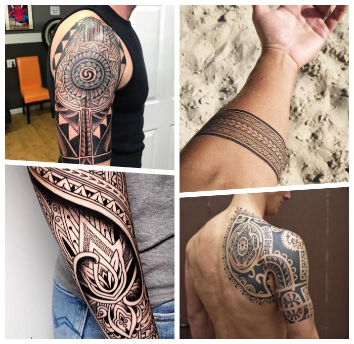 tranditional tattoo ideen, männer tattoos motive, polynesische symbole, tätowierung mit beduetung