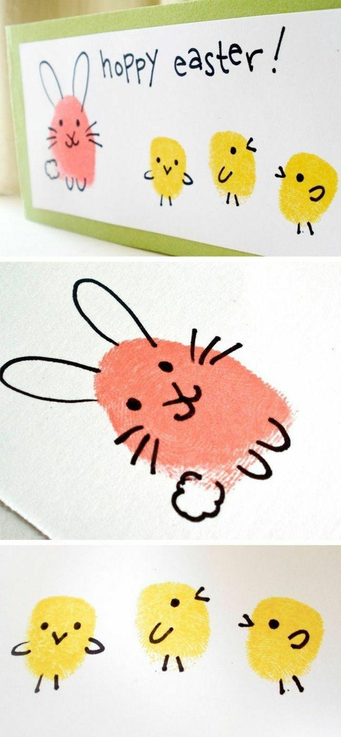 Osterdekoration basteln mit Kinder, Hasen und Küken aus Fingerabdrücke in rosa und gelb, Bastelideen zu Ostern