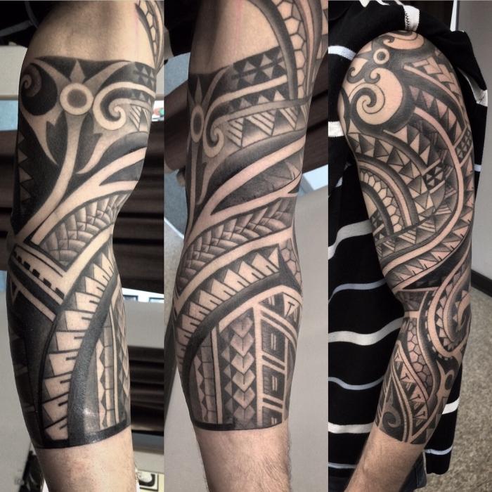 moderne tattoos für herren, sleeve ins chwarz und grau, maori designs für männer