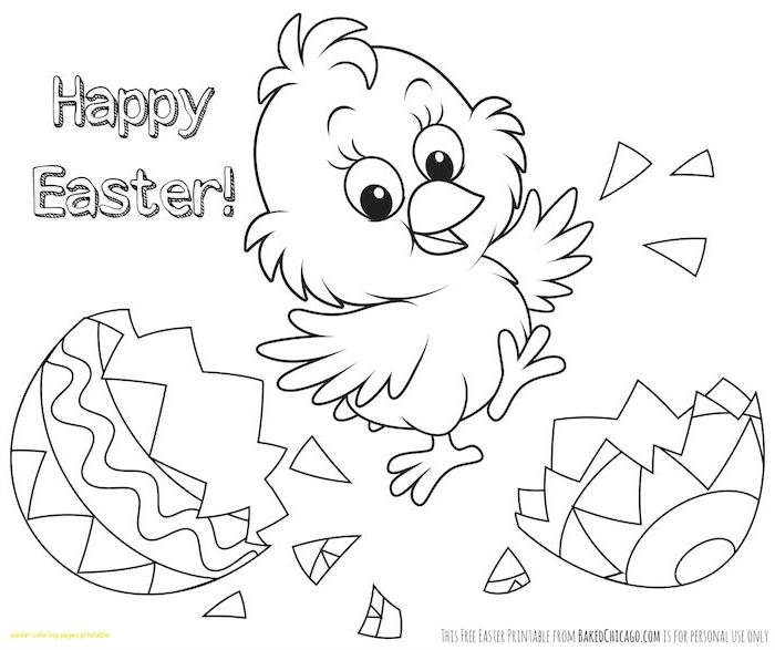 Ausmalbild für Ostern mit Küken und Osterei und Aufschrift Happy Easter zum Ausdrucken