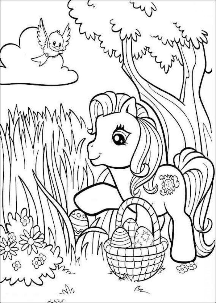 My Little Pony Osterbild zum Ausmalen, Pony mit Osterkörbchen im Wald, Ostereier mit Verzierungen