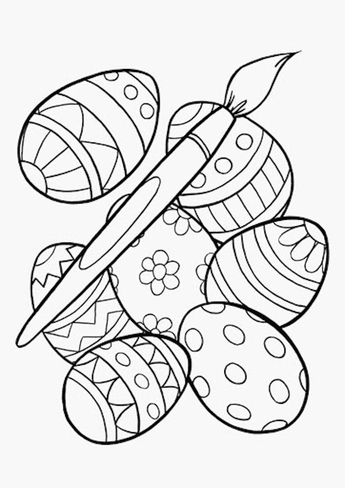 Ostereier mit Verzierungen und Pinsel, Ausmalbilder für Kleinkinder zum Ausdrucken