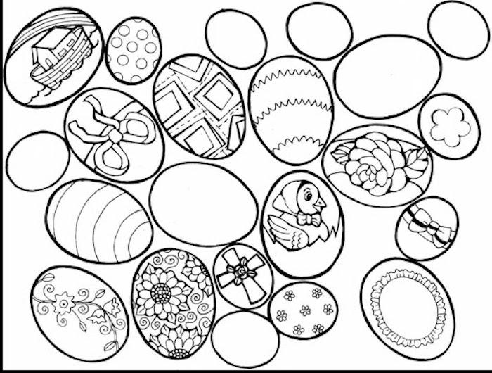 Ausmalbild Ostereier mit verschiedenen Motiven, Blumen Schleifen und Kreuz