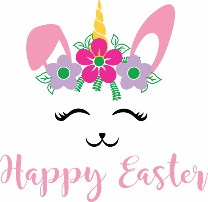Osterkörbchen basteln mit Krippenkindern, Vorlage von Hase mit einem Horn, pinke Ohren, Happy Easter Aufschrift