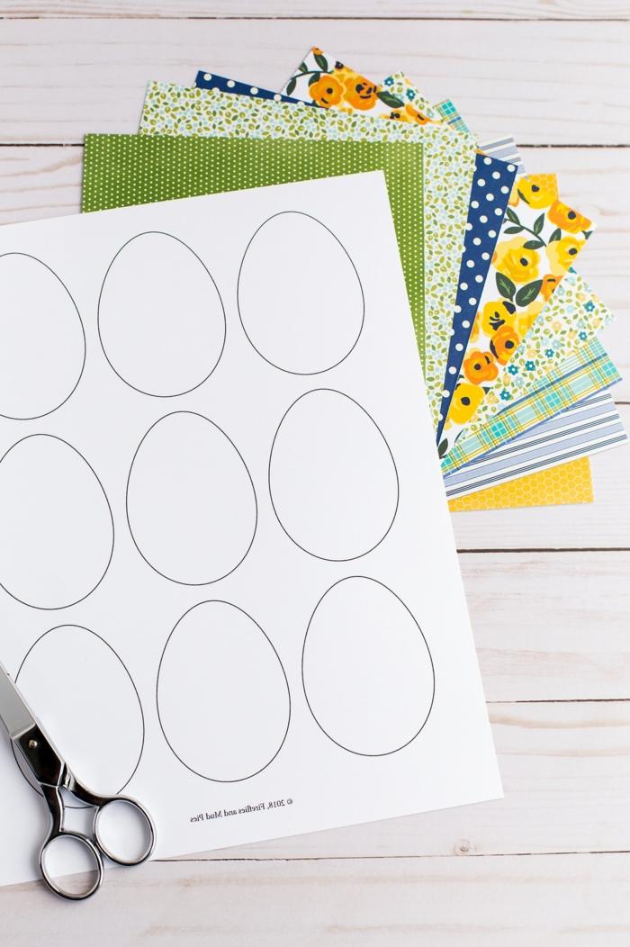 Vorlage und Anleitung zum basteln von Ostereier, Osterbasteln Kleinkind, kleine Schere, verschiedenfarbige Blätter