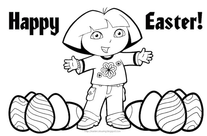 Dora the Explorer Ausmalbild für Ostern mit Ostereiern und Aufschrift Happy Easter, Disney Ausmalbilder