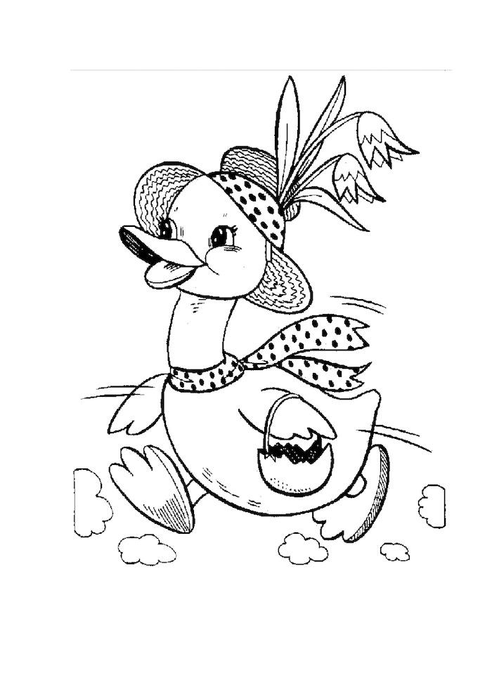 Osterbild zum Ausmalen, süße Ente mit Ei für Tasche, Hit mit Blumen und Schal
