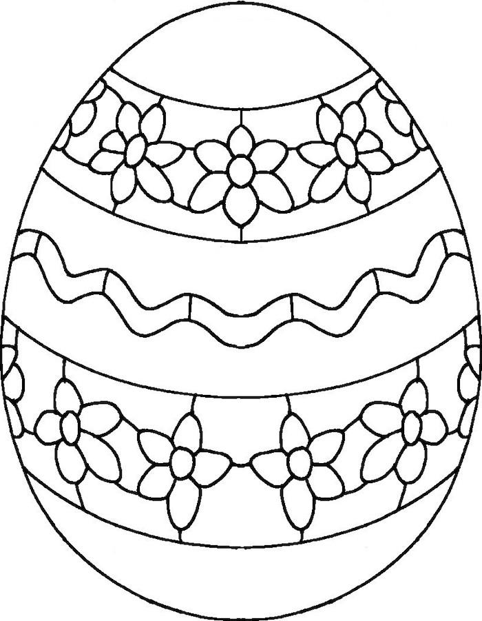 Riesiges Osterei mit Blumen Motiv, Ausmalbilder für Kinder und Erwachsene