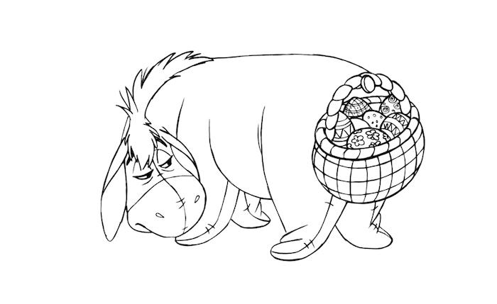 Eeyore mit Osterkörbchen voller Ostereier, Winnie the Pooh Bilder zum Ausmalen