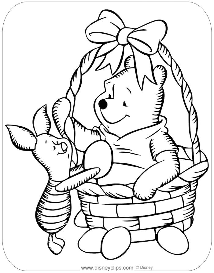 Winnie the Pooh und Piglet Bild zum Ausmalen, Pooh in Osterkorb mit Ostereiern