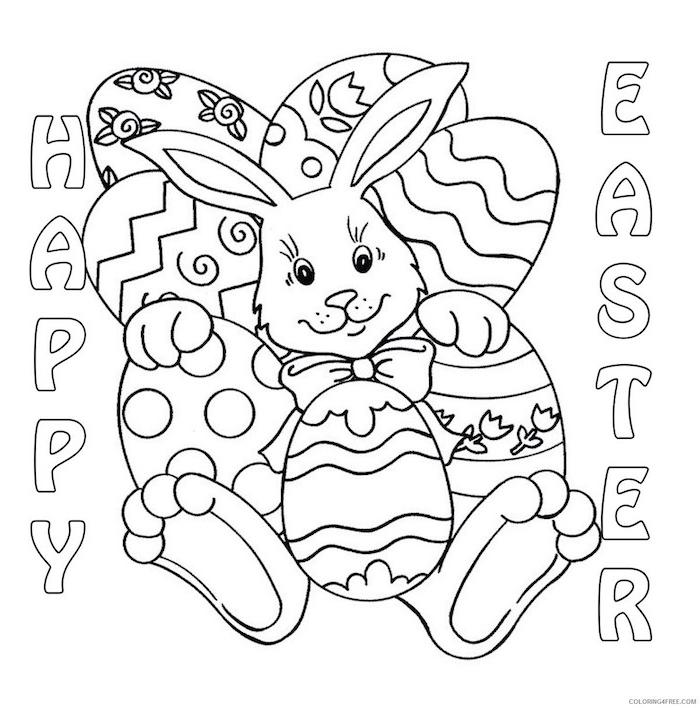 Osterhase Bild zum Ausmalen, Aufschrift Happy Easter, Ostereier mit Schnörkeleien