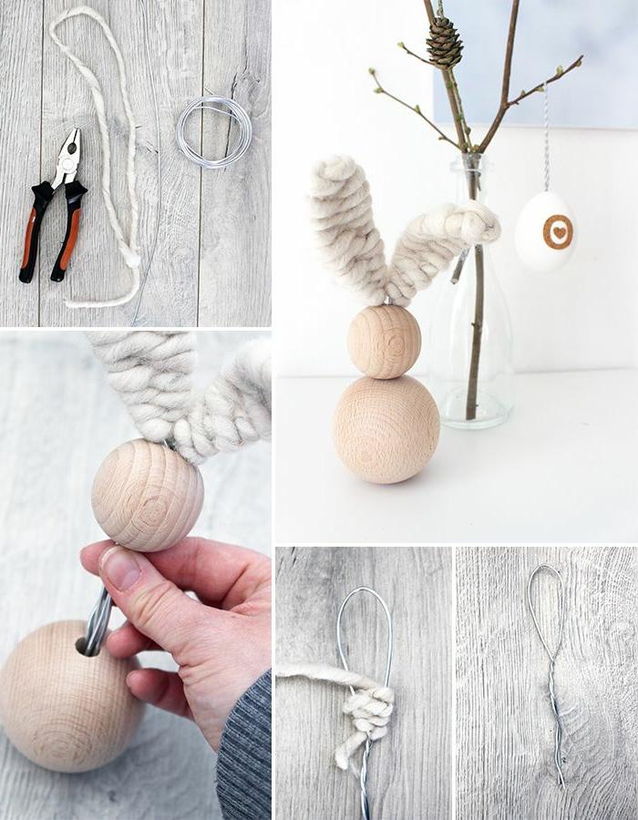 Osterhase aus Holz basteln, Ohren aus Stoff, Osterhasen basteln mit Kindern, DIY Anleitung und Bastelbedarf Collage