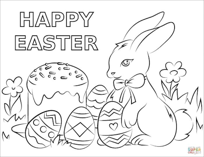 Ausmalbild Osterhase und Ostereier, Blumen und Aufschrift Happy Easter