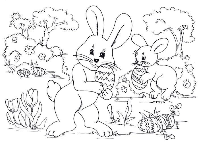Zwei Osterhasen verstecken Ostereier im Wald, Bäume und Tulpen zum Ausmalen für Kinder