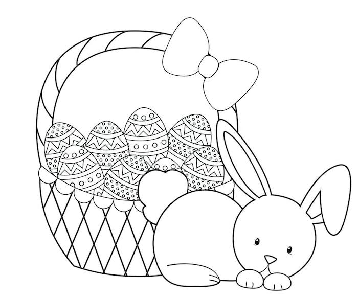 Osterhase Ausmalbild für Kinder, Osterkorb voll mit Ostereiern, mit großer Schleife, kleiner Osterhase