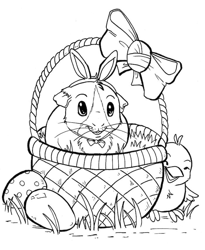 Osterbilder für Kleinkinder, Osterhase in Osterkorb mit großer Schleife, kleines Küken und zwei Ostereier
