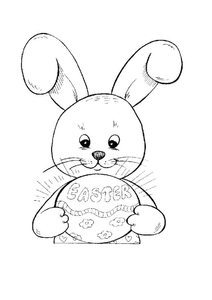 Süßer Osterhase mit Osterei Ausmalbild für Kleinkinder, Blumen und Aufschrift Easter