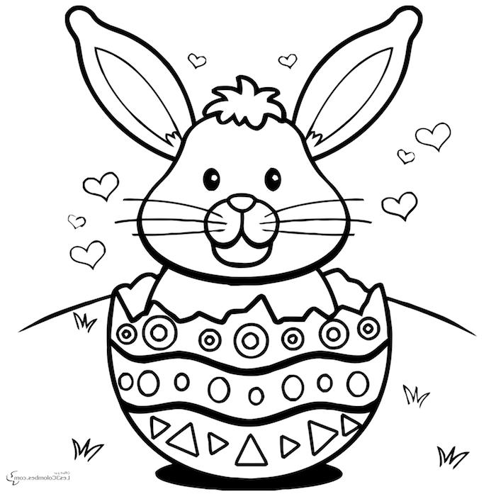 Osterhase Ausmalbild, Hase in einem riesigen Osterei, kleine Herzen, Ausmalbilder für Kleinkinder