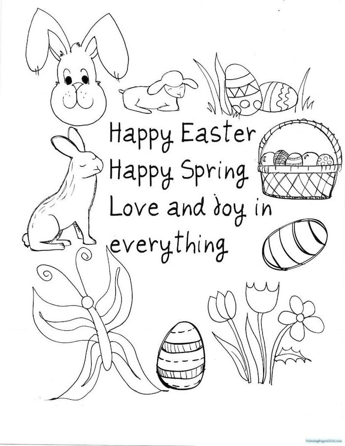 Osterbild zum Ausmalen für Kinder, verschiedene Ostermotive, Osterhase und Lamm, Osterkorb und Ostereier, Schmetterling und Tulpen