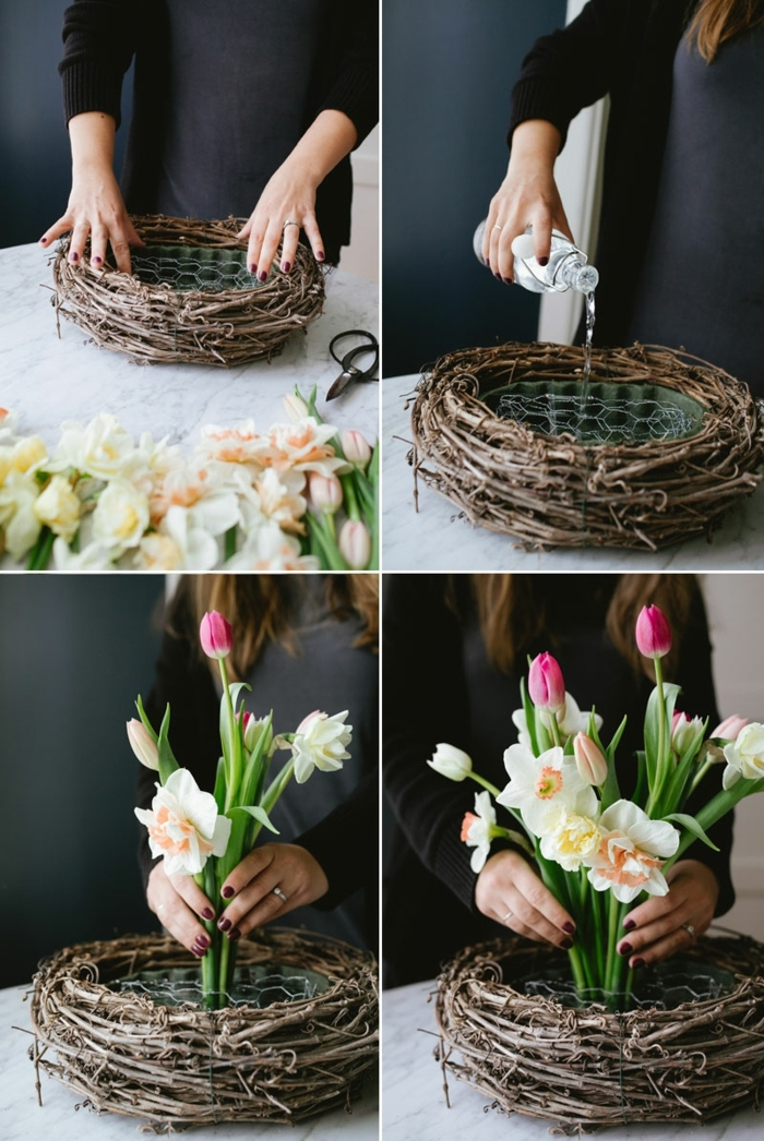 DIY Anleitung für Osterkörbchen basteln aus Naturmaterialien, Schritt für Schritt Erklärung, verschiedene Frühlingsblumen
