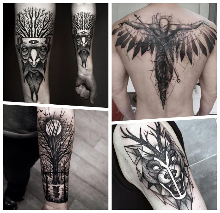 rücken tattoo mann, gefallener engel, große tätowierung in schwarz und grau, wolfkopf