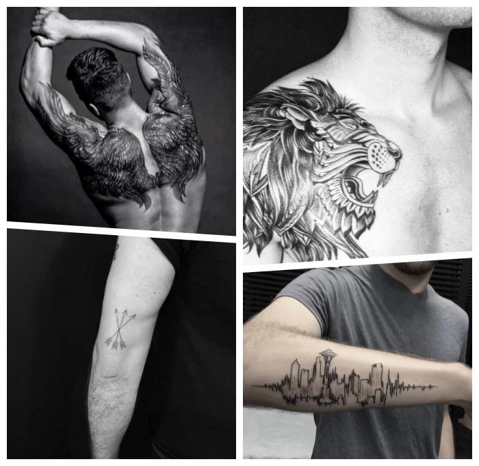 rücken tattoo mann, große flügel, drie pfeile, löwenkopf am brust, schwarz graue tätowierungen