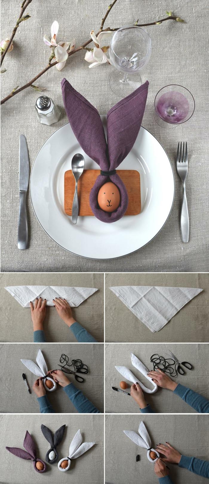 wie falte ich Servietten mit Hasenohren zu Ostern, DIY Anleitung für Servietten falten Ostern, Osterdekoration selber machen