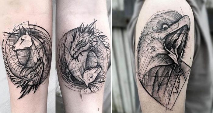 symbol für stärke, blackwork tätowierungen am unterarm, einhorn und drache, adler