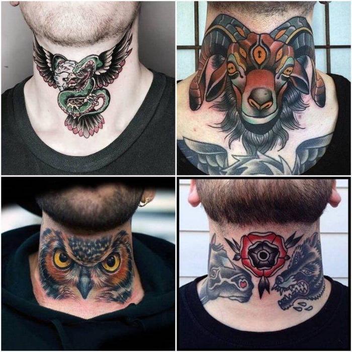 symbol für stärke, farbige tätowierungen für männer, tattoo am nacken ideen