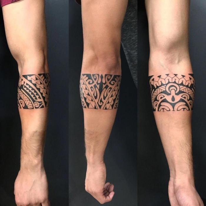 tattoo für neuen lebensabschnitt, band mit polynesischen motiven, tribal tätowierung