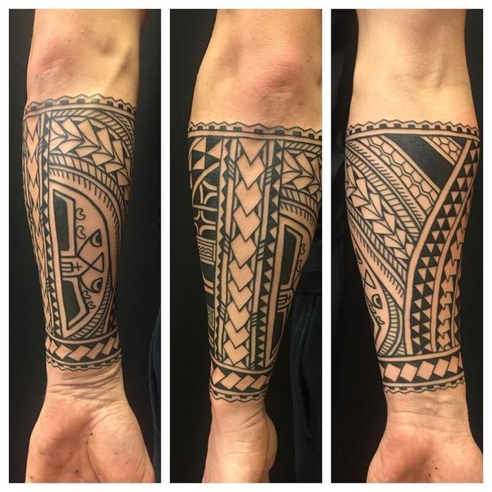 tattoo für neuen lebensabschnitt, samoanische motive, geometrische tätowierung