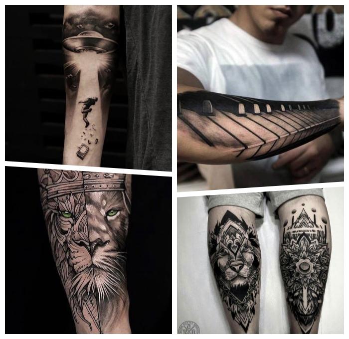 tattoo ideen männer, ide besten motive, schwarz graue tätowierungen, löwe mit grünen augen