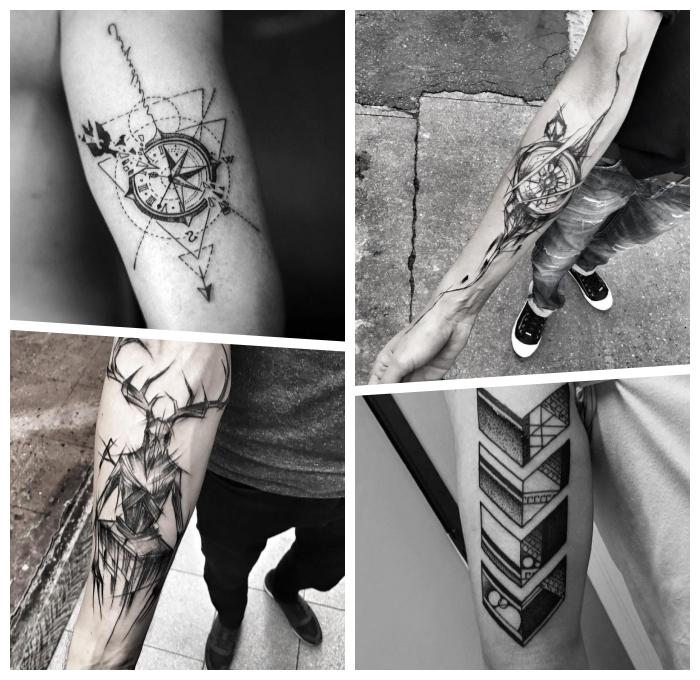 tattoo ideen männer, kompass mit geometrsichen elementen und pfeil, dämon