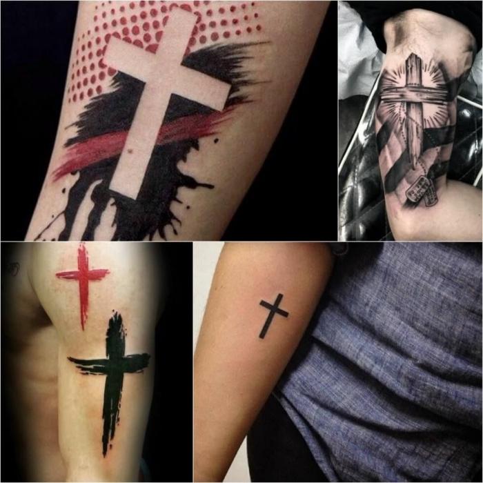 tattoo männer arm, tätoweirungen mit kreuz als motiv, motive mit bedeutusch, religiös
