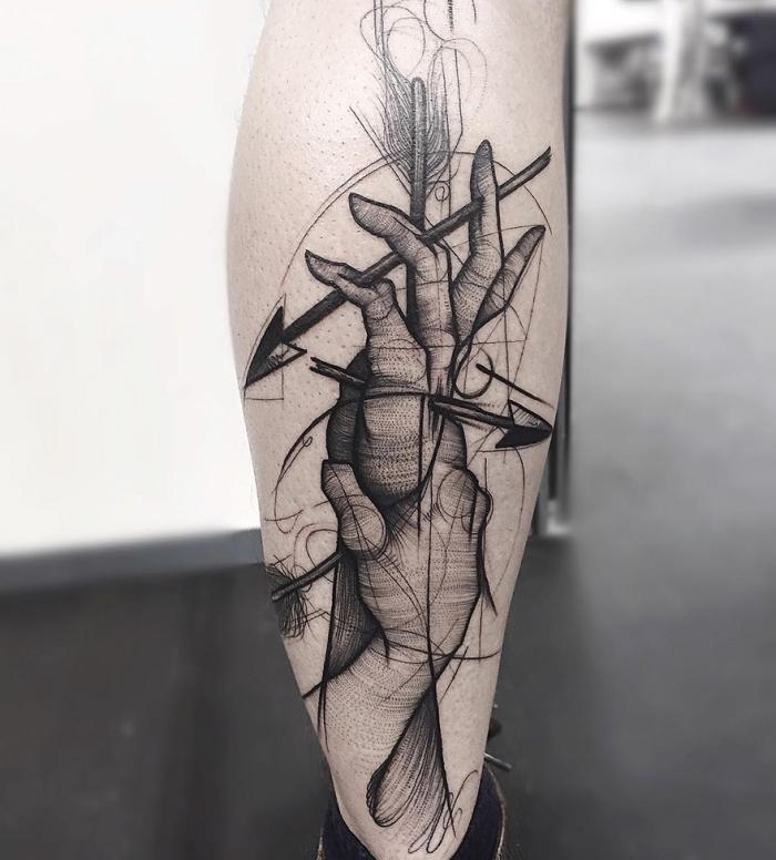 tattoo motive männer, zwei hände mit pfeilen, geometrische elemente, bein tätowieren lassen