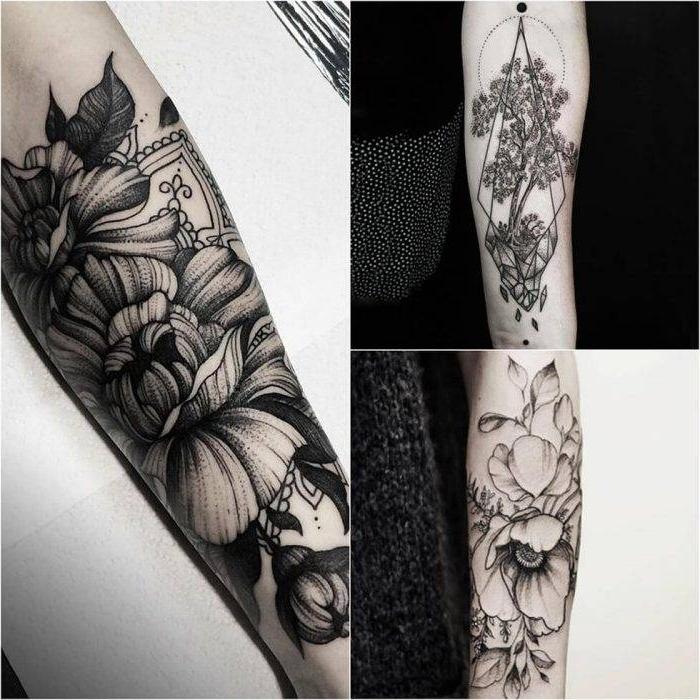 tattoo motive männer, tätowierungen mit floralen motiven, kleine blüten, blumen