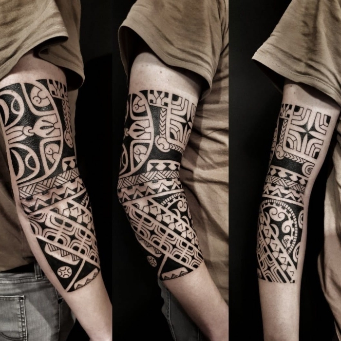 tattoo trends 2019 männer, blackwork tätowierung mit beudetung, pilynesiche motive